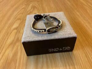 """NWT Uno de 50 Silver-Plated Beaded w/Grey Swarovski Crystal Bracelet """"Tribe"""""""