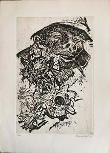 Cesco Magnolato incisione acquatinta 1962 Figura 65x46 firmata numerata 48/50