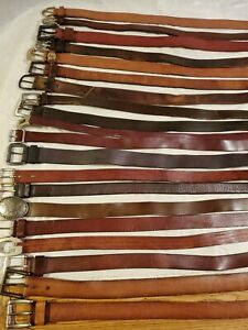 LOT OF 20 Brown  LEATHER WESTERN  FASHION BELTS VINTAGE & CONTEMPORARY