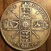 1918 GREAT BRITAIN GEORGE V SILVER FLORIN COIN