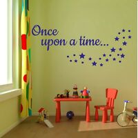 Once upon a time... Wall Stickers Quote Art Kids Bedroom- 20cm- 40cm- 60cm-wide