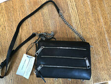 NEW REBECCA MINKOFF MINI 5 ZIP CROSSBODY, black leather, $195