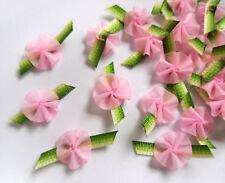 "1"" Light Pink / Ombre Green Fancy Ribbon Rose Flowers-Lots 48pcs (R0154)"