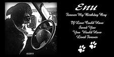 "6"" X 12"" Personalized Laser Engraved Black Granite Photo Pet Memorial Stone"
