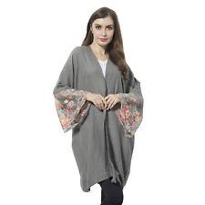 Gray 100% Polyester Flower Pattern Lace Sleeve Kimono S M L XL 1X 2X ONE SIZE