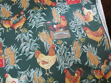 Large scale chicken rooster cotton fabric green ground BTY 1 yard cut corn