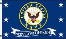 US Navy Served With Pride Flag 3x5 ft USN Vet Veteran Retired United States Navy