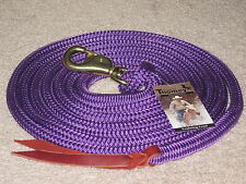 THOMEY NATURAL HORSE TRAINING LEAD ROPE, 14FT. ~ GREAT FOR GROUNDWORK ~ PURPLE