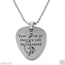Double Sides Personalized Stainless Steel Guitar Pick Necklace with Musical Note