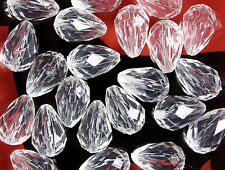 100 X Crystal Clear Teardrop Faceted Transparent Acrylic Beads 14 X 10 Mm
