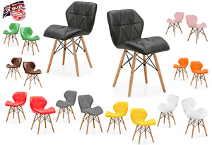 Eiffel Design Dining Chairs Wooden Legs Faux Leather Padded-UK