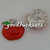 50499 Antique Silver Alloy Red Apples Pendants Charms Crafts Findings 12x