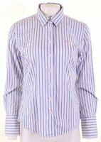 CREW CLOTHING Womens Shirt Size 12 Medium White Striped Cotton Classic Fit  KJ09