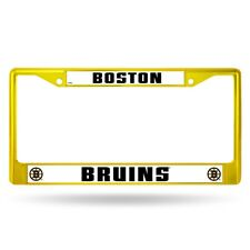 Boston Bruins NHL Licensed Flat Gold Painted Chrome Metal License Plate Frame
