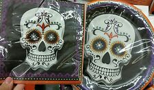 NIP SUGAR SKULL 12 PLATES 16 LARGE NAPKINS BLACK PURPLE ORANGE PARTY HALLOWEEN
