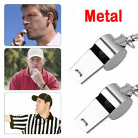Metal Football Soccer Sports Referee Whistle & Lanyard Emergency Survival JT