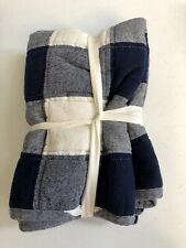 Pottery Barn Buffalo Check Navy Blue Quilted Standard Sham New w/o tags