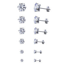 Stainless Steel Round Womens Stud Earrings Cubic Zirconia Inlaid 3mm-8mm 6 Pairs