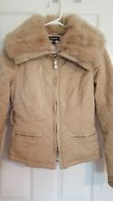 Bebe beige rabbit fur hooded feather down insulated coat jacket size small