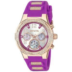 Invicta 24201 Blu Quartz Chronograph Crystal Accent Purple Silicone Womens Watch