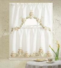 BH Home Glory Floral Embroidered 3-Piece Kitchen Curtain Window Treatment Beige