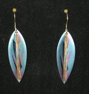 Handsigned Holly Yashi Niobium Blue Purple Gold Wire Details Dangle Earrings