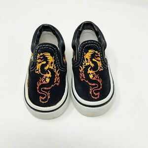 VANS Baby Slip On Shoes Sneakers Flame Dragon Toddler Size 4.5
