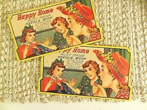 SEW SEW SEW!  VINTAGE 2 HAPPY HOME RUST PROOF NEEDLE BOOK NICKLE PLATED NEEDLES