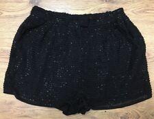 TOPSHOP Black Beaded Design Short Shorts Size 10 UK BNWT RRP £42
