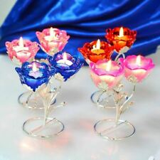 1 Pc Crystal Candle Holder Crystal Double Rose Tea Light Candlestick Centerpiece