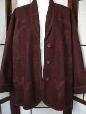 COLDWATER CREEK MAROON BURGUNDY WOOL BLEND SIZE L(XL/1X?) EMBRODERED JACKET/COAT