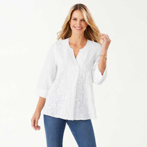 Tommy Bahama Women's A Vine Frenzy Embroidered Tunic White Sz Medium NWT $145