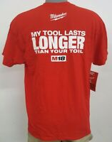 "Milwaukee ""My Tool Lasts Longer Than Your Tool"" Red Graphic T-Shirt New w/Tags"