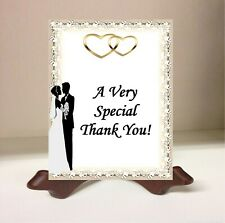Personalized Wedding Thank You Cards Bride and Groom Beige Gold Hearts Lace