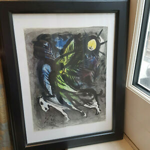 """Chagall """"L'Ange""""/""""The Angel"""" 1960 lithograph print, unsigned, vg condition"""
