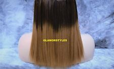 "15"" BROWN FLIP IN SECRET CLEAR WIRE HUMAN HAIR PIECE EXTENSIONS NO CLIP IN/ON"