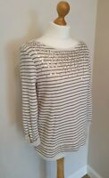 Laura Ashley Summer Jumper UK Size 14 Gold Sequins Pretty Casual Smart Striped
