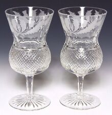 2x EDINBURGH CRYSTAL THISTLE LARGE WATER / WINE GOBLETS FIRST QUALITY & SIGNED