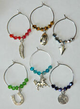 Wine Glass Charms: Set of 6 Colored Crystal Silver Country Western Drink Markers