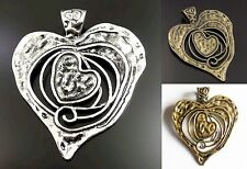 Large Antique Silver Bronze Gold Vintage Metal Heart Pendant Finding 75x64x2mm