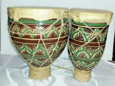 More details for vintage twin african style ceramic/animal skin bongo drums