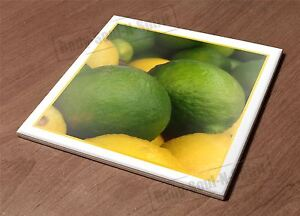HotPlate Kitchen Trivet Holder Ceramic Tile limes food lemons fruit art d?cor
