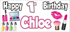 2 PERSONALISED Pamper Glam Make Up 1st Birthday Banners Party Decorations Girls