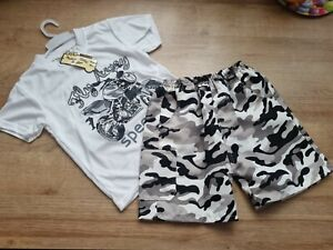 BOYS WHITE MOTORBIKE CAMOURFLAGE LOUNGE WEAR SET OUTFITS SUMMER SET AGE 5-6 Y
