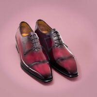 Handmade Leather Men's Burgundy Patina Oxfords, Men Patina Lace up Formal Shoes