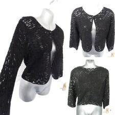 ❤ Size 14 Black Lace Crochet Button Fasten Bolero Cover Jacket Top Occasion