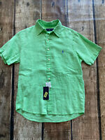 POLO RALPH LAUREN 100% LINEN SHIRT GREEN PURPLE PONY MENS SMALL NEW