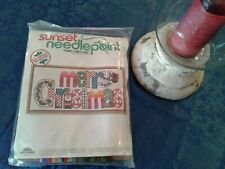 "Nip Vintage Sunset Needlepoint Kit ""Merry Christmas"" / Unopened"