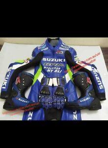 SUZUKI FULL GEARS KIT ( SUIT, BOOTS, GLOVES ) MOTORBIKE LEATHER MOTORCYCLE LEDER