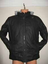 HARDLY WORN BOYS JOHN ROCHAS WAXED STYLE QUILT LINED JACKET WITH HOOD AGE 13-14